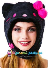 Кигуруми шапка Хелло Китти чёрная / Kigurumi cap Hello Kitty black