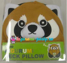 Кигуруми подушка для шеи красная Панда (в коробке)