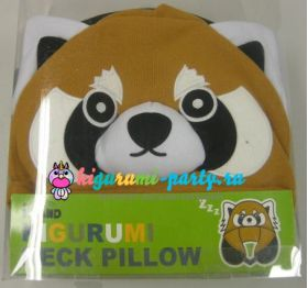Кигуруми подушка для шеи красная (огненная) Панда (в коробке)