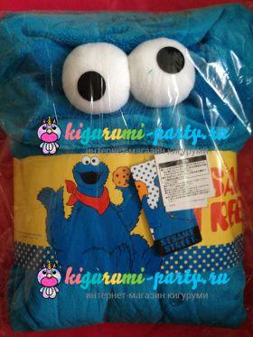 Кигуруми Коржик (Куки монстр, печеньковый монстр) по Улица Сезам / англ. Cookie Monster on Sesame Street (в упаковке)
