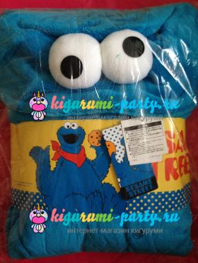 Кигуруми Коржик (Куки монстр, печеньковый монстр) по Улица Сезам / Kigurumi Cookie Monster on Sesame Street (в упаковке)