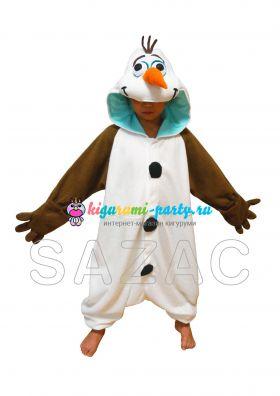 Кигуруми детский Олаф из м/ф Холодное Сердце /Kigurumi Frozen Olaf/ (анфас)