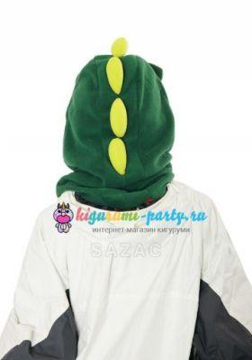 Кигуруми капор Динозавр зелёный (сзади, одет)