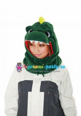 Кигуруми капор Динозавр зелёный (анфас)