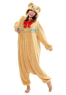 Кигуруми Медвежонок Тедди бежевый (вполоборота)