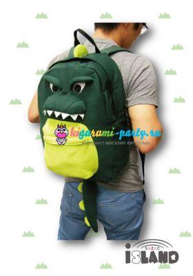 Кигуруми рюкзак Динозавр зелёный (одет)