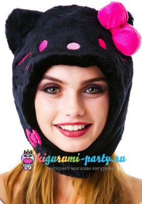 Кигуруми шапка Hello Kitty чёрная