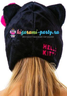 Кигуруми шапка Hello Kitty чёрная (сзади, одетая)