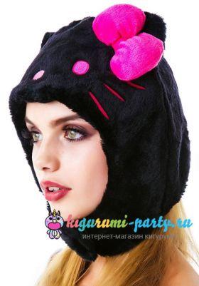 Кигуруми шапка Hello Kitty чёрная (вполоборота)