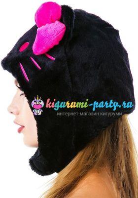 Кигуруми шапка Hello Kitty чёрная (профиль)