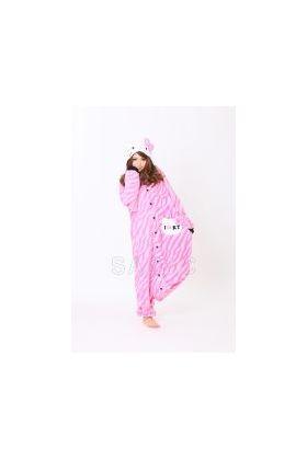 Кигуруми Хелло Китти Зебра розовая / Kigurumi Hello Kitty zebra pink (анфас)