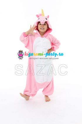 Кигуруми для детей Единорог розовый (анфас)