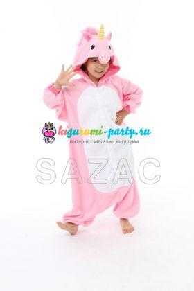 Кигуруми детский Единорог розовый (вполоборота)