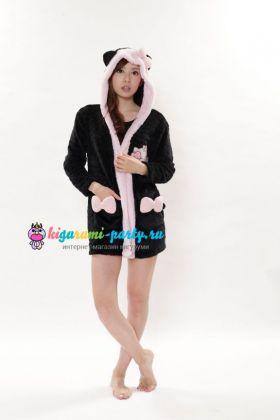 Кигуруми халат Хелло Китти чёрный / Kigurumi Bathrobe Hello Kitty black