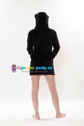 Кигуруми халат Хелло Китти чёрный / Kigurumi Bathrobe Hello Kitty black (сзади)