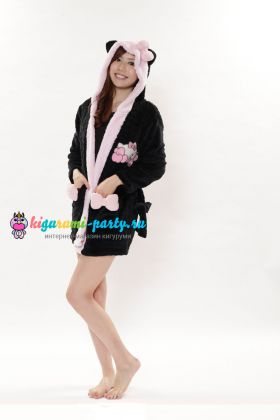Кигуруми халат Hello Kitty чёрный (профиль)