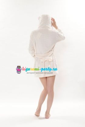 Кигуруми халат Хелло Китти белый / Kigurumi Bathrobe Hello Kitty white  (сзади)