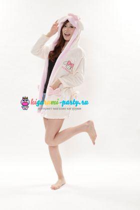 Кигуруми халат Моя Мелодия белый / Kigurumi Bathrobe My Melody WT (профиль)