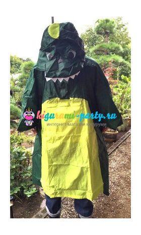 Кигуруми дождевик Динозавр зелёный (спереди, одет)