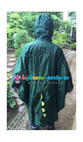Кигуруми дождевик Динозавр зелёный (сзади, одет)